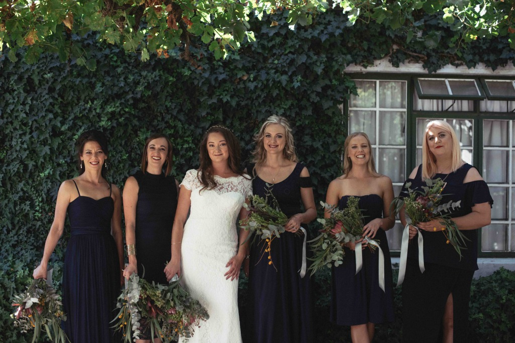 bruid+bridesmaids